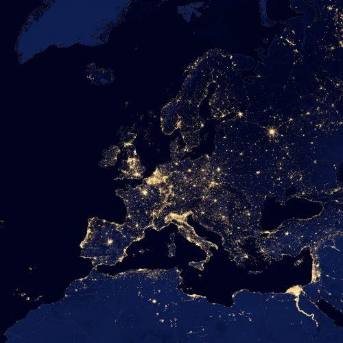 Europa Karte Lichtsmog